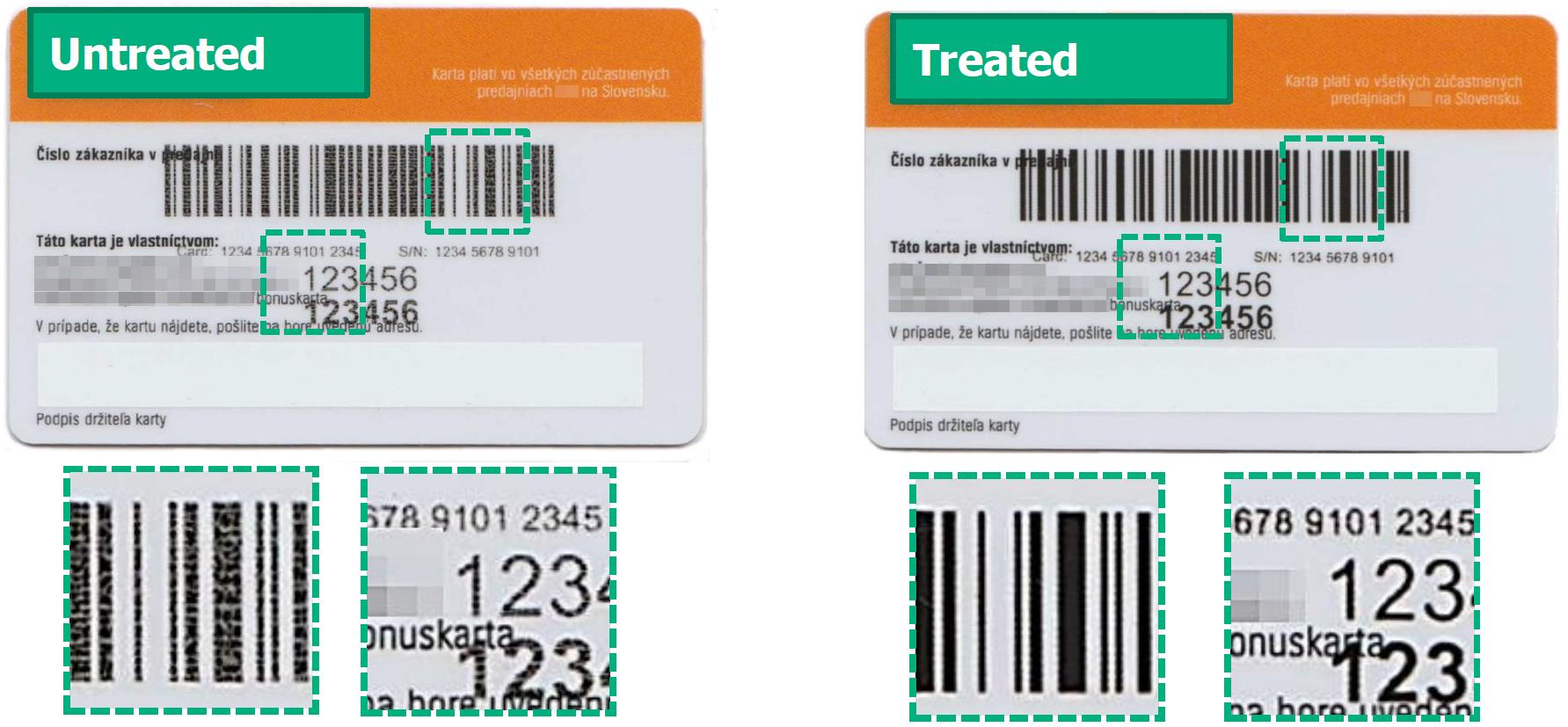 Strichcode-Vergleich: Farbhaftung mit und ohne Excimer-Technologie