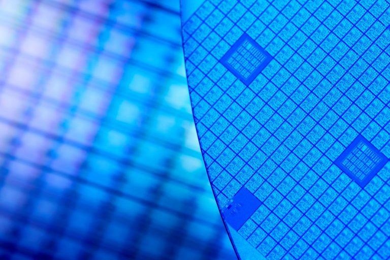 A closeup of a silicon wafer