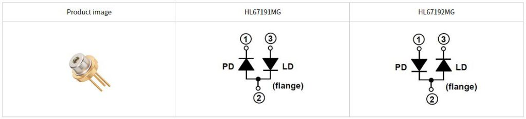 Product image and internal circuit layout of HL67191MG and HL67192MG