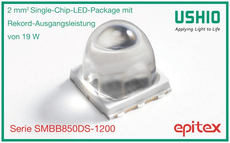 2 mm² Single-Chip-LED-Package mit Rekord-Ausgangsleistung von 19 W | Ushio Europe B.V.